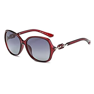 Amomoma Classic Women's Polarized Sunglasses Oversized UV Protection Lens AM2009 Crystal Ruby/Gradient Grey Lens