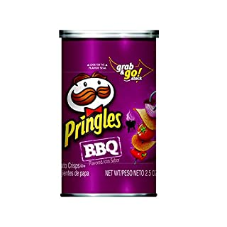 PringlesPotato Crisps Chips, BBQ Flavored, Grab and Go, 2.5 oz Can(Pack of 12)