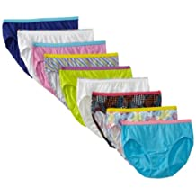 Hanes Girls' No Ride Up Cotton TAGLESS Hipsters 9-Pack