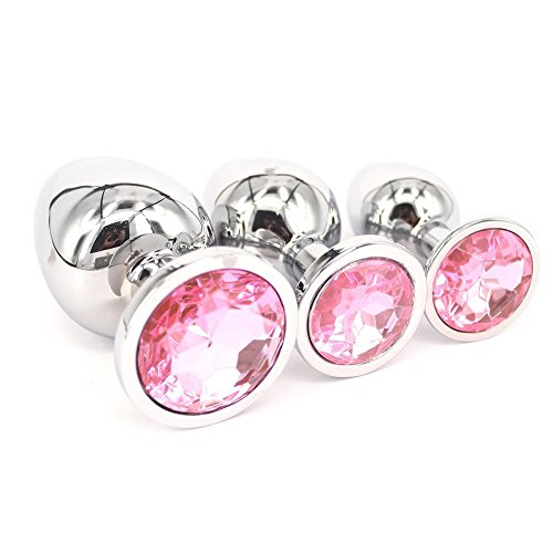 JiuJg 3PCS Personal Massager Personal Massagers Anal Plug Diamond Jewelry Stainless Steel Butt Plug Jewel Fetish BDSM Toys for Women Men Pink by JiuJg