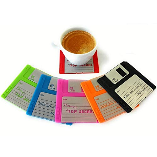 Floppy Disk Coaster Video Game Memorabilia Nerd Office Set Of 6 Floppy Disk Decor Computer Geek Gifts gifts For Geeks And Nerds Cool Office Gadgets Nerdy Gifts For Men Programmer Mug Party Coasters