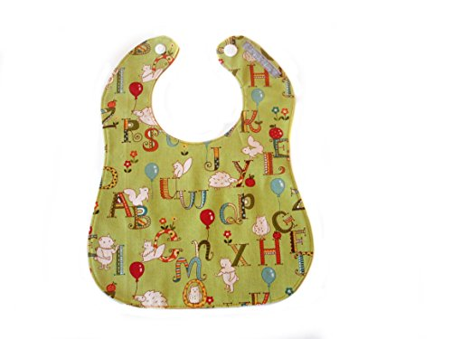 Handmade Boy Baby Bib by Designs By Downing (Green P&Qs)