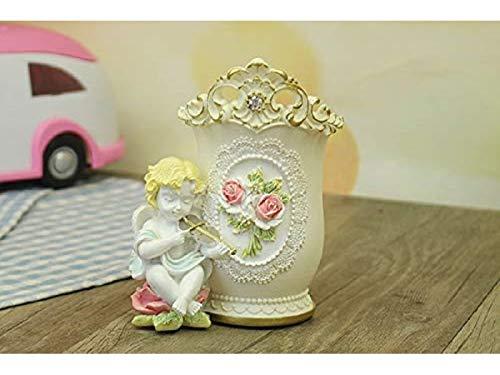 Pen Holder, Cute Resin Angel Pen Pot Holder Desk Makeup Brush Canister Resin Crafts Decoration (Color : Beige) ()