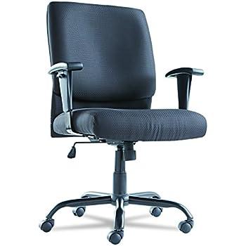 OIF BT4510 Big and Tall Swivel/Tilt Mid-Back Chair, Height Adjustable T-Bar Arms, Black