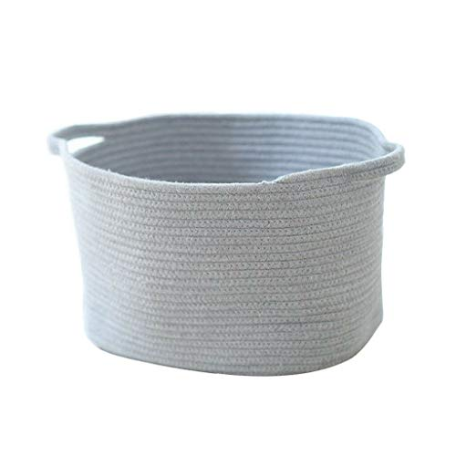 MOPOLIS Handmade Cotton Woven Storage Basket with Handle for Kids Toy Potted Plants | Color - Gray