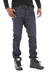 Rich Gang Men's Slim Fit Quilted Jeans-Raw Blue-30