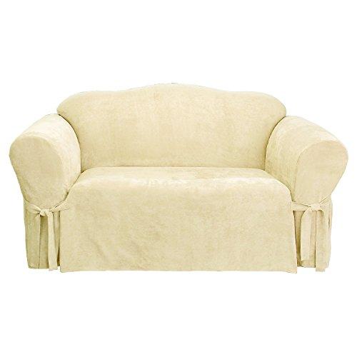 Sure Fit Soft Suede 1-Piece  - Sofa Slipcover  - Cream