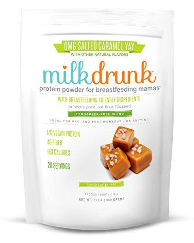 Milk Drunk Fenugreek-Free - Salted Caramel Protein Powder for Breastfeeding - 20 Servings of Vegan Protein & Lactation-Boosting Ingredients - 17g Protein 4g Fiber 6g Sugar - Oats, Flax, Brewer's Yeast (Best Protein Powder For Nursing Mothers)