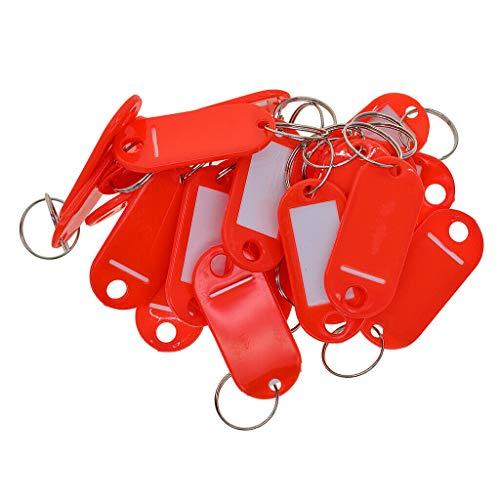 (NATFUR 50 Sets Bulk 65MM Key Tags Blank ID FOBS Plastic Identity CAR Key Rings RED Pretty Key-Chain for Women Cute for Men Holder Perfect for Girls Pretty Novelty)