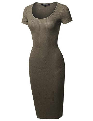 Aawdrs0004 Short Body Solid Sleeves Olive Con Stretch Awesome21 Ribbed Women's Dress ETqOxnqaz