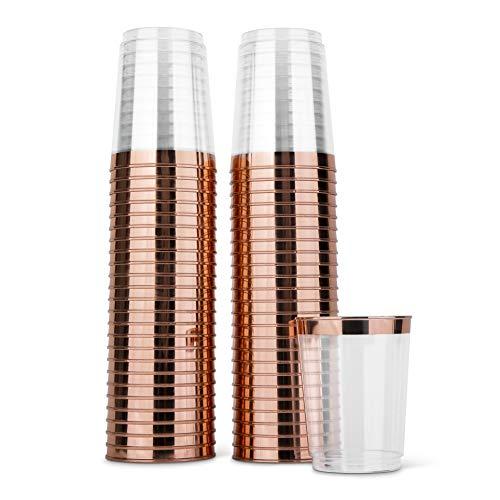 10oz Premium Rose Gold Trim - Hard Clear Plastic Cups - 100 pack Wedding/Party Disposable Tumblers - Rose Gold Rim - Elegant Party Cups ()