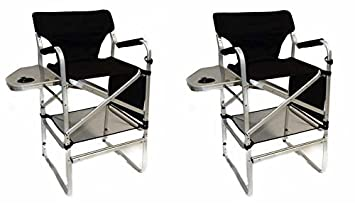 World Outdoor Products Two Pack Lightweight Professional Tall Directors Folding Chair with Side Table, Side Storage Bag, Cup Holder, Footrest, Carry Handles.