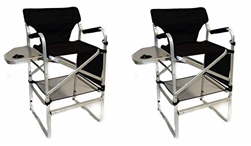 Two Pack World Outdoor Products Lightweight Professional Tall Directors Folding Chair with Side Table, Side Storage Bag, Cup Holder, Footrest, Carry Handles.