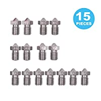 Seloky 36 Pieces Stainless Steel 3D Printer Nozzles 0.2 mm, 0.4 mm, 0.6 mm, 0.8 mm, 1.0 mm Extruder Nozzle Print Head for E3D Makerbot and 5pcs Cleaning Needles Drill Bits by Seloky