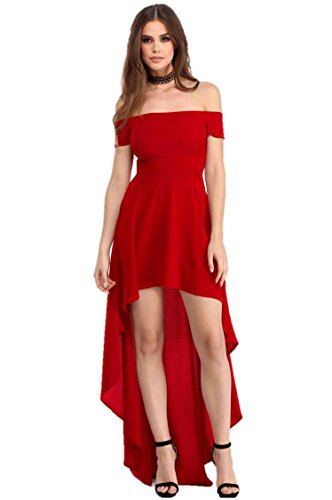 Fashion Women's Sexy Off Shoulder High Low Asymmetrical Maxi Skater Dress (Large, Red/Long)