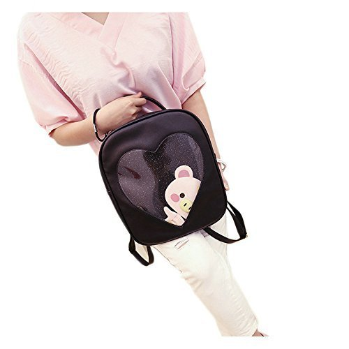 Naray Candy Color Fashion College Backpack Heart Transparent Shoulders Bag - Hearts Pink Camera