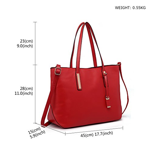 Azul ajustable Miss color Tote única mango sintética Lulu oscuro Mujer Talla Piel Bag Rojo 6qwxqPFfg