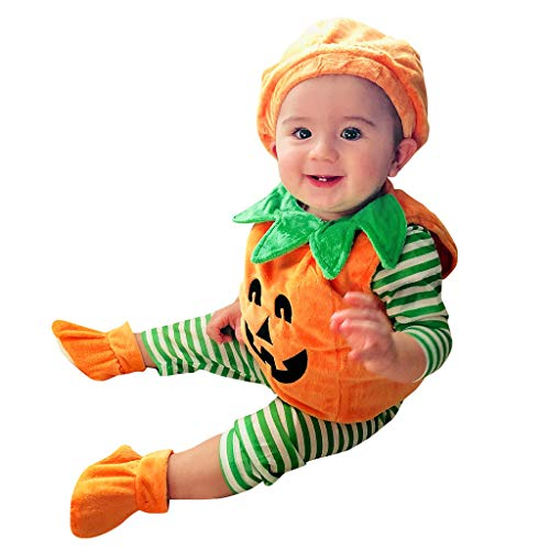 WOCACHI Toddler Infant Baby Girls Boys Demon Pumpkin Halloween Romper Cap Shoes Outfits Sets Sale