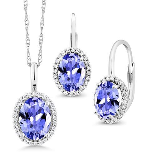Gem Stone King 3.19 Ct Oval Blue Tanzanite 10K White Gold Diamond Pendant Earrings Set