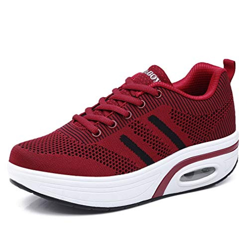 Orlancy Womens Mesh & Leather Lace Up Platform Wedges Walking Sneakers Sports Shoes Wine Red-368