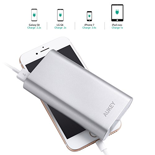 AUKEY 10050mAh Portable Charger with Qualcomm Quick Charge 3.0 Compatible Samsung Galaxy S8/S8+, LG G5/G6, HTC 10 and More - Silver