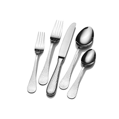 Wallace 5030397 Continental Hammered 78-Piece 18/0 Stainless Steel Flatware Set, Service for 12 - 78-piece flatware set, service for 12, includes 12 each of: salad fork, dinner fork, dinner knife, dinner spoon and teaspoon Assembled product weight 15 Pounds.Also includes 12 extra teaspoons, plus 1 each of: tablespoon, pierced tablespoon, cold meat fork, butter serving knife, sugar spoon and pie server Crafted from premium stainless steel - kitchen-tabletop, kitchen-dining-room, flatware - 41hDUG%2BGVTL. SS400  -