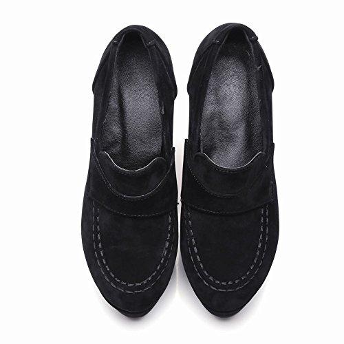 Carolbar Mujeres Retro Platform Moda Tacones Altos Bombas Zapatos Negro