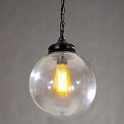 Injuicy Lighting Edison Loft Industrial Vintage Indoor Clear Glass Globe Mini Pendant Light Shade 20CM(Bulbs Not Included)