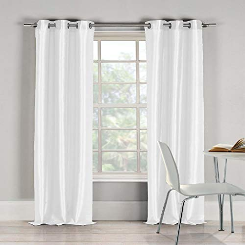 (Duck River Textiles - Home Fashion Solid Faux Silk Grommet Top Window Curtains for Living Room & Bedroom - Assorted Colors - Set of 2 Panels (38 X 96 Inch - White))