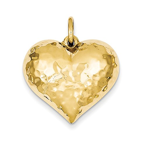 Puffed Hammered Charm Heart (14k Yellow Gold Hollow Hammered Puffed Heart Charm or Pendant, 25mm)