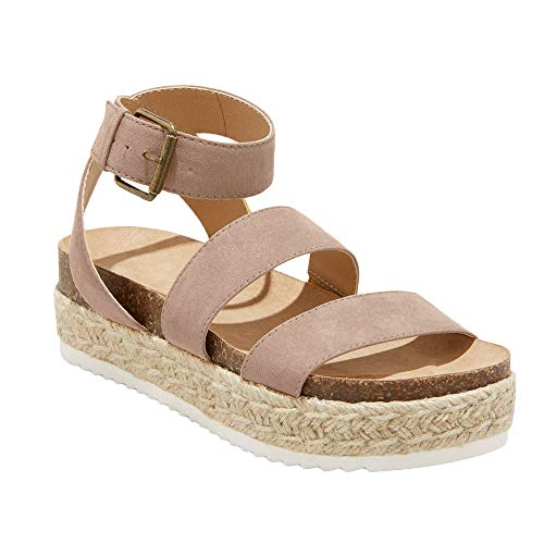 - Syktkmx Womens Elastic Strappy Platform Sandals Ankle Strap Footbed Espadrille Sandals