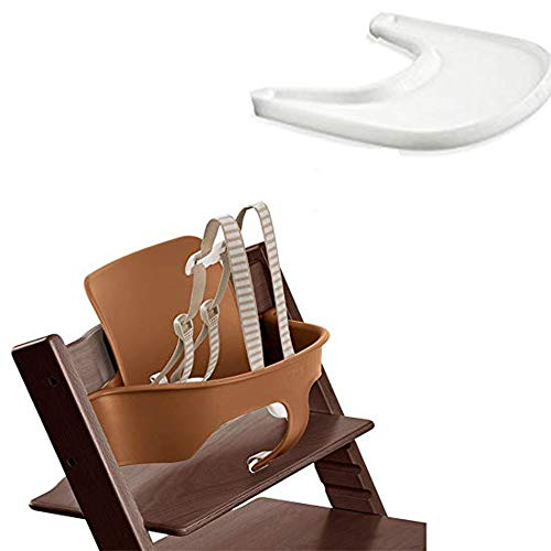 (Stokke Tripp Trapp Baby Set - Walnut Brown & Tray - White)