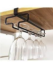 Hikinlichi Wine Glass Holder Stemware Rack Hanger Under Cabinet Wine Glass Rack Kitchen Hanging Glass Storage Rack Organizer,Black