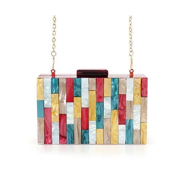 Multi-Color Handbag with Acrylic Clutch