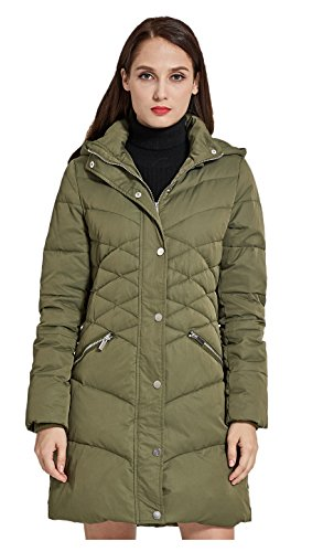 Down Orolay Puffer Jacket Coat with Women's Thickened Hood Green wnzxfFEz