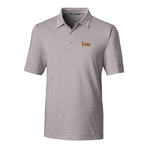 (Cutter & Buck NCAA Arizona State Sun Devils Men's Short Sleeve Pencil Stripe Forge Polo, Polished,)