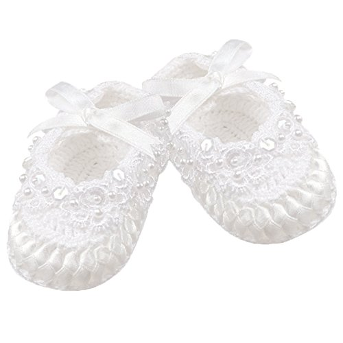 Country Kids Baby Girls' Handmade Crochet Christening Baptism Crib Shoe Sequins Pearls and Satin Ribbon Bow, 1 Pair Gift Set, Fits 0-6 months, White