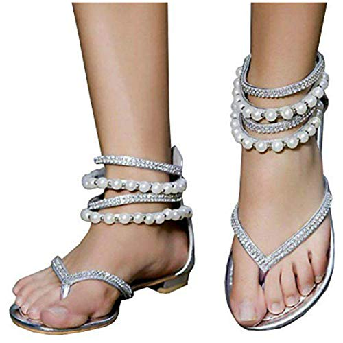(Liyuandian Women Bling Rhinestone Pearl Wedding Dress Thong Flat Sandals Silver )