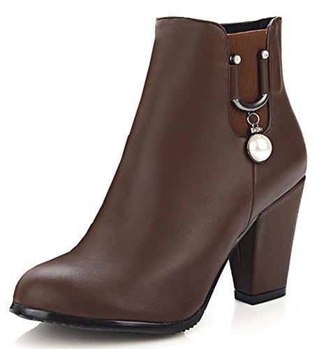Idifu Kvinna Elegant Leende Hängande Höga Grova Klackar Korta Boots Med Dragkedja Brun