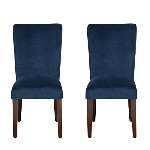 Kinfine Parsons Upholstered Accent Dining Chair, Set of 2, Navy Velvet (Velvet Upholstered Dining Chairs)