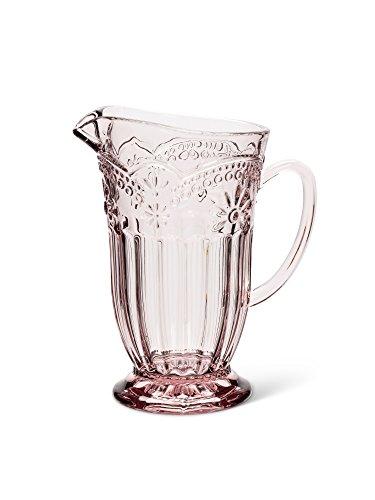 Depression Pitcher - Pink Depression-Style Glass Flower Pedestal Jug Pitcher 7