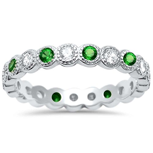 Cz Antique Style Bezel Set Eternity Stackable .925 Sterling Silver Ring Sizes 6 (Emerald Diamond Ring Settings)