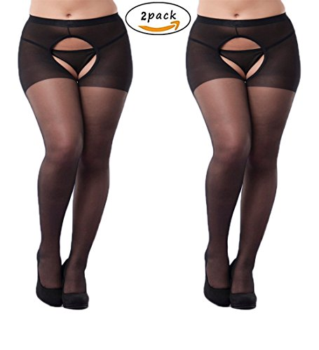 2-Packs Women Sexy Open Crotch Pantyhose Plus Sized Tights Stocking (Plus Size, Black)