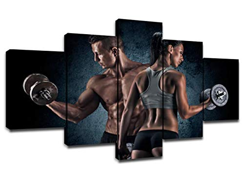 Fitness Sports Painting on Canvas Modern Wall Art Pictures for Living Room Framed Wall Decor 5 Piece Decoration for Home Man and Woman Exercise on Dark Background Poster Boys Gifts(60''Wx32''H)