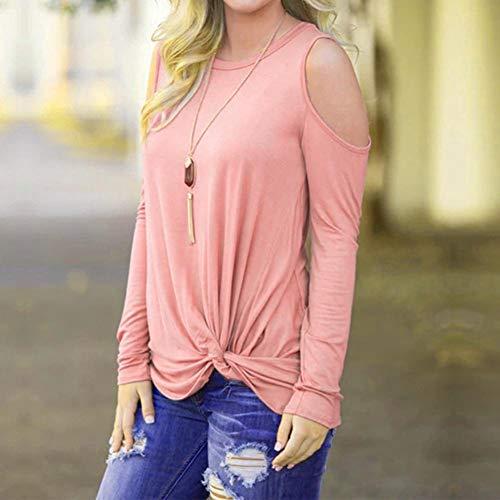 Sudaderas Oferta Mujer Mujer Casual Camisetas Hombro Manga Larga Frío Glomixs De Ropa Invierno Tops Blusas Sólido Rosado Abrigos Otoño En Fiesta Ydwzgzq