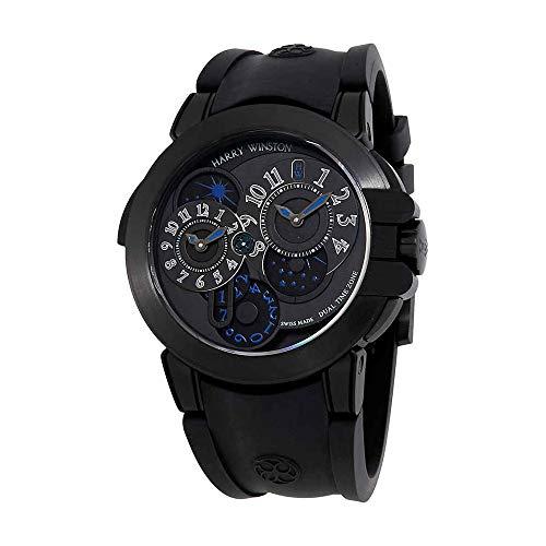 Harry Winston Ocean Dual Time Automatic Black Opalien Dial Mens Watch OCEATZ44ZZ007