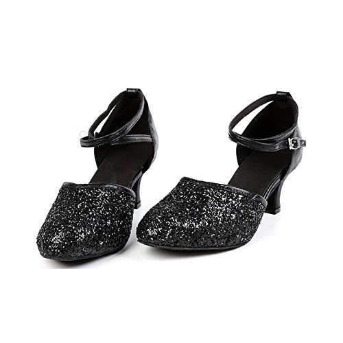 Dance Sequined Heel Black Women's Shoes OCHENTA Kitten Toe Sole Pointed Ballroom Leather Suede Latin BHY5zqzw