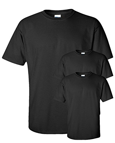 Gildan Adult Ultra Taped Neck Preshrunk Jersey T-Shirt, Black, XL. (Pack of 3)