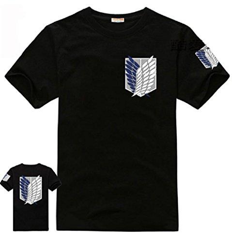進撃の巨人 調査兵団風 半袖Tシャツ  コスプレ衣装  ブラック×重ね翼の紋章プリント (M)