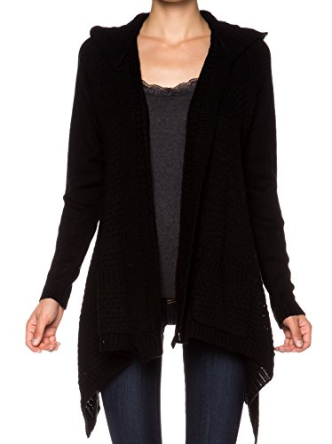 Misses Cable Knit (A.S Cable Knit Sweater Front Draped Open Front Cardigan-Black-Medium)
